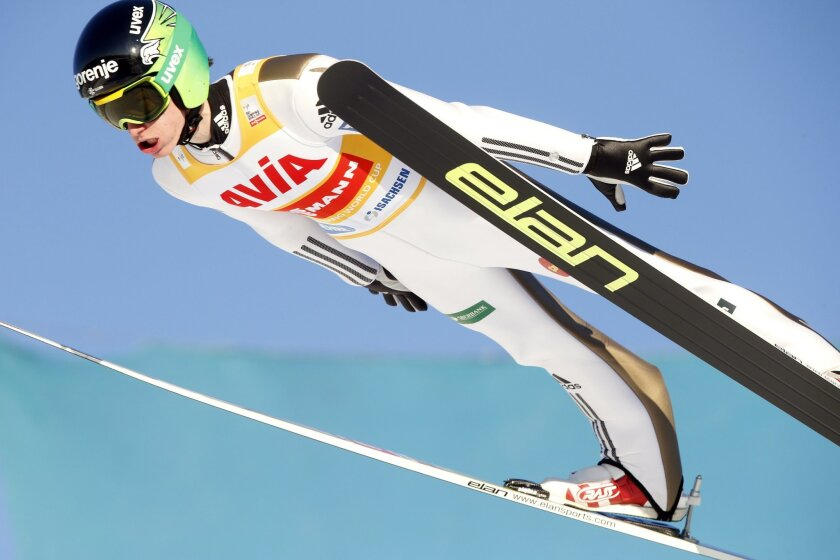 Peter Prevc from Slovenia in the air during the qualification for the FIS Ski Jumping World Cup Flying Hill competition in Vikersund, Norway, Sunday Feb. 14, 2016. (Terje Bendiksby/NTB Scanpix via AP) NORWAY OUT