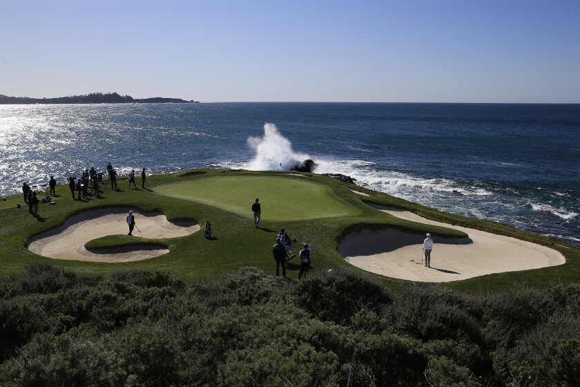 Nick Taylor plays a shot from a bunker on the seventh hole during the final round of the Pebble Beach Pro-Am at Pebble Beach Golf Links on Sunday.