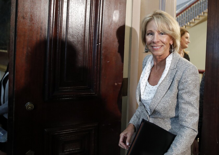 Education Secretary Betsy DeVos is reported to be considering arming teachers in public schools, according to The New York Times.