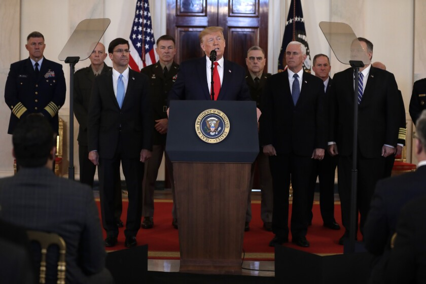 President Trump addresses the nation from the White House on last week's ballistic missile strike that Iran launched against Iraqi air bases housing U.S. troops.