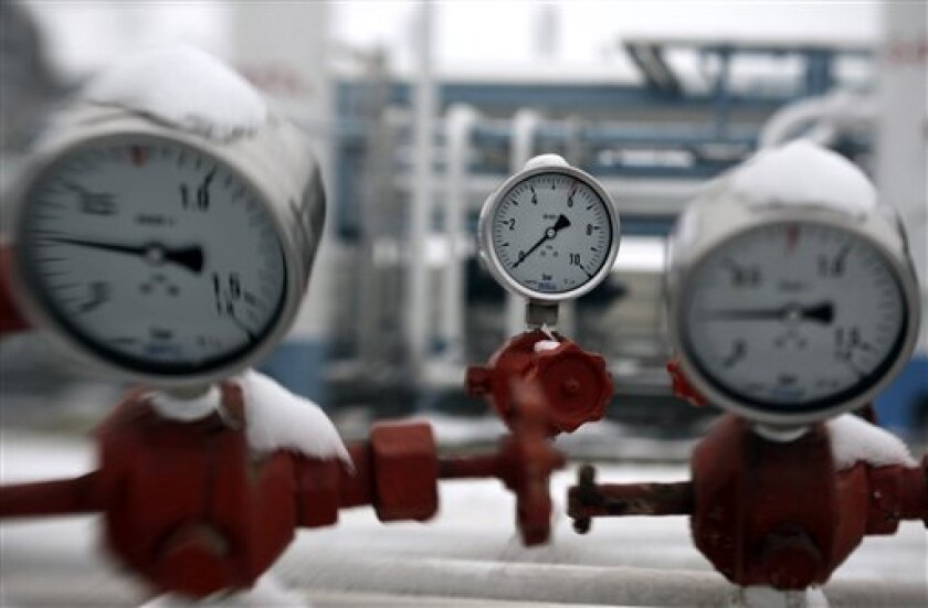 Gauges indicate gas pressure near the Ukrainian border at the E.ON Natural Gas Storage Company in Hajduszoboszlo (230 km/140 miles east of Budapest), Hungary, Wednesday, Jan. 7. 2009. Wednesday Hungary started to use its gas reserve from storage facilities while authorities restricted natural gas s
