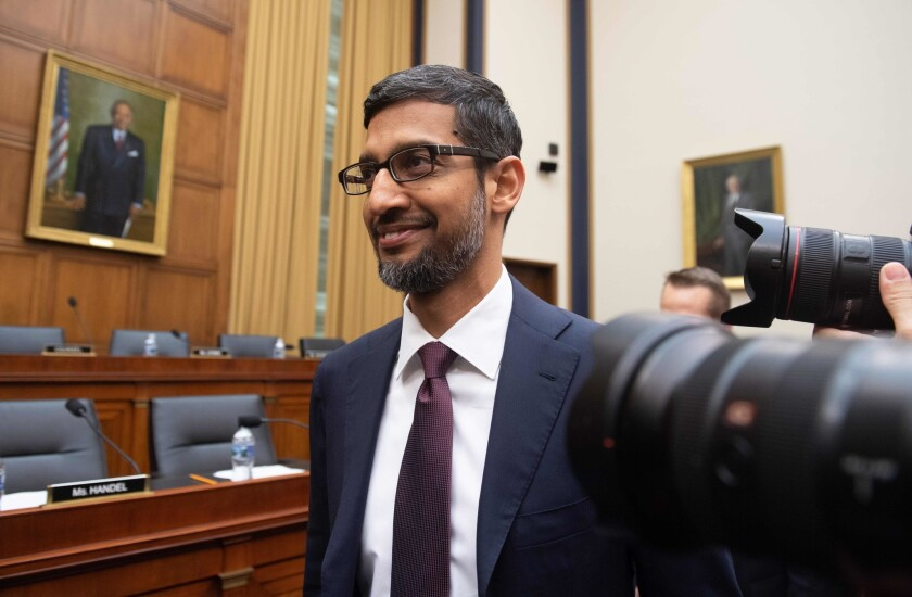 Google CEO Sundar Pichai is shown at a House Judiciary Committee hearing in 2018.