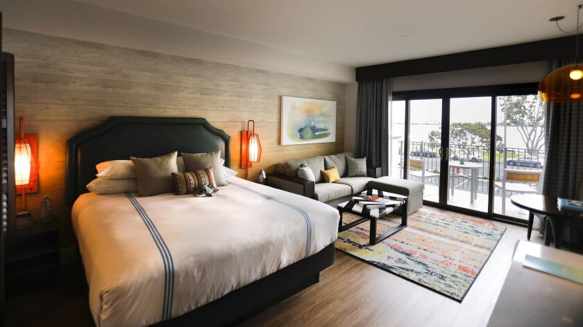 SAN DIEGO, CA: May 30, 2018: One of the new California Endless Summer suites at the Kona Kai Resort