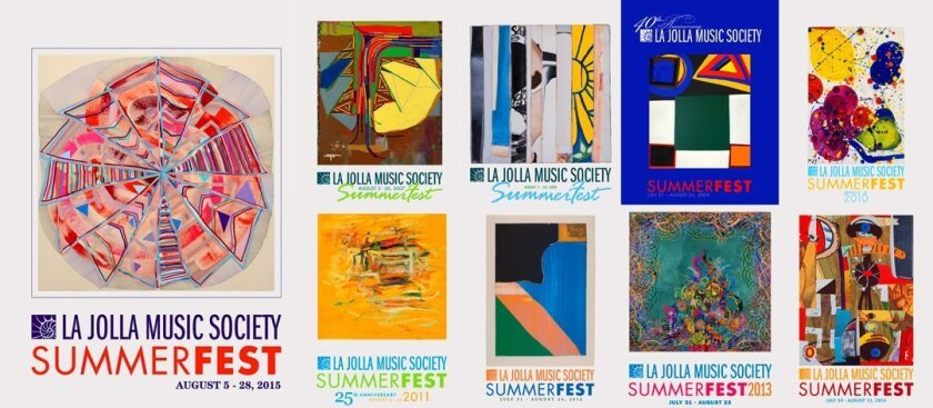 La Jolla Music Society's SummerFest posters through the years feature works from the Museum of Contemporary Art San Diego (MCASD) and include (above and clockwise): 'Serpentine' by Fedor Voronov, 2011; 'The Brevity of Resonant Drifting' by Steve Roden, 2006; untitled by Richard Allen Morris, 1977;