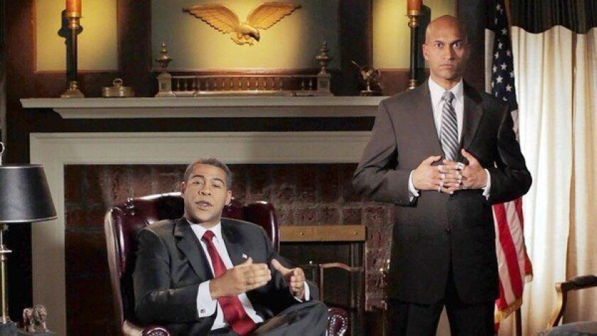 Calm is key for Jordan Peele's Obama, left, while Keegan-Michael Key's Luther gets ready to vent.
