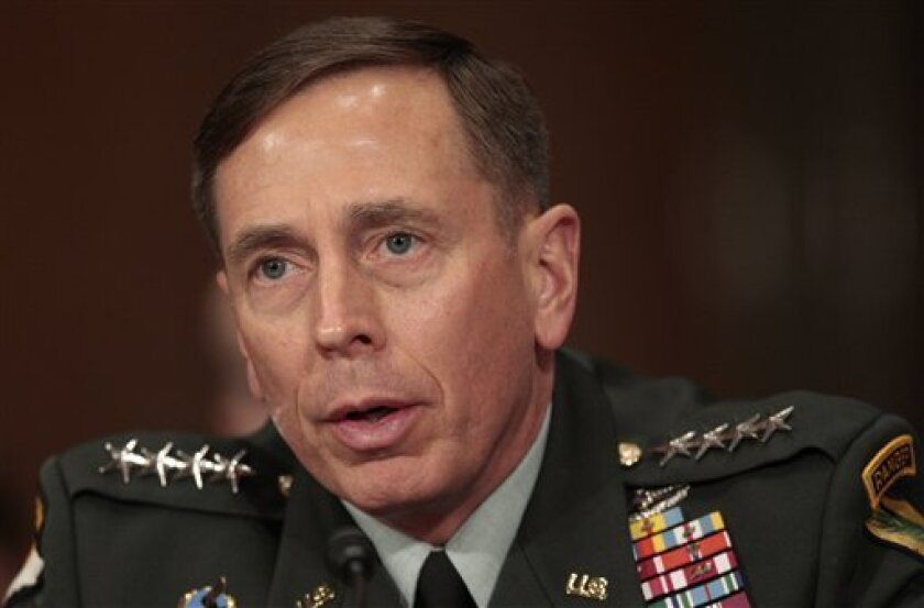 FILE - In this Dec. 9, 2009 file photo, U.S. Central Command commanding Gen. David Petraeus testifies on Capitol Hill in Washington. For a guy who professes to have no interest in running for president, Petraeus can come off as surprisingly eager to talk about it _ sometimes without even being asked. (AP Photo/Pablo Martinez Monsivais, File)