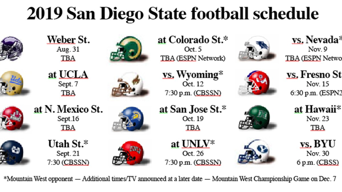 Aztecs football notebook: Kickoff times/TV networks announced for