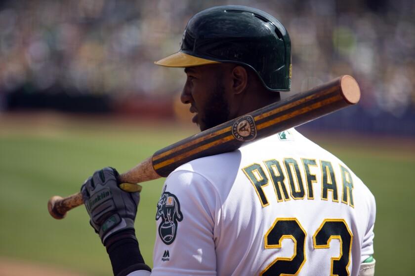 Jurickson Profar (23) waits to bat in a game last year in Oakland.