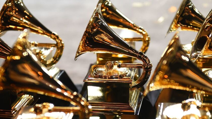 Grammy trophies sit in the press room during the 60th Grammy Awards in New York.