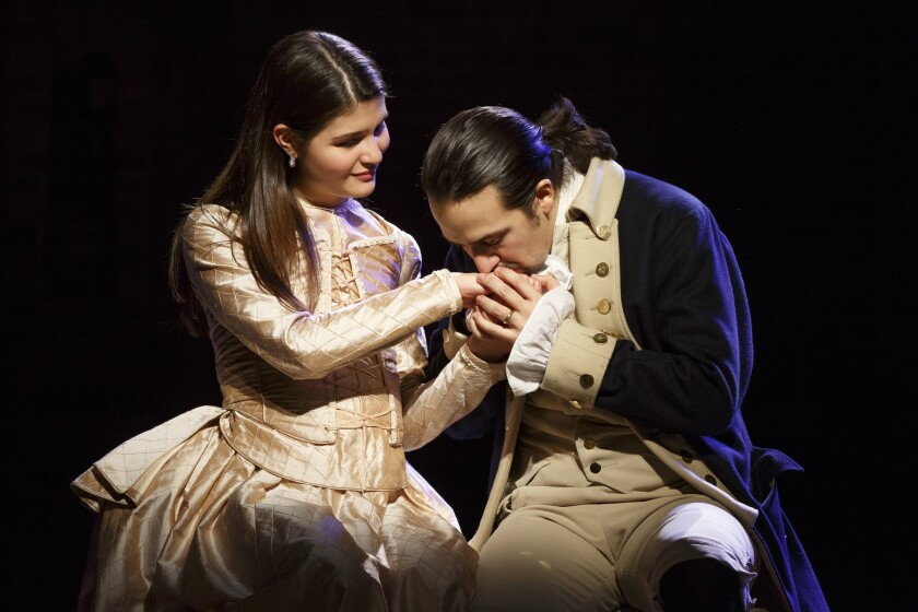 "Phillipa Soo and Lin-Manuel Miranda in ""Hamilton"" the Public Theater."