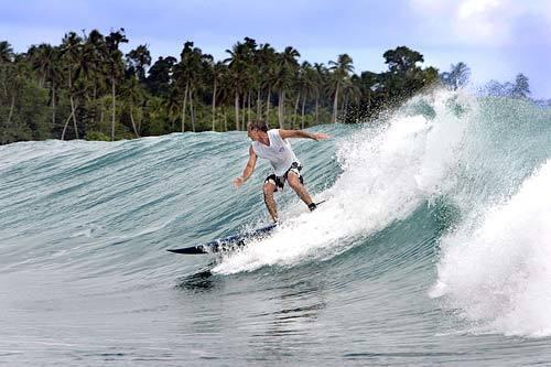Writer Joel Sappell in the Mentawai Islands
