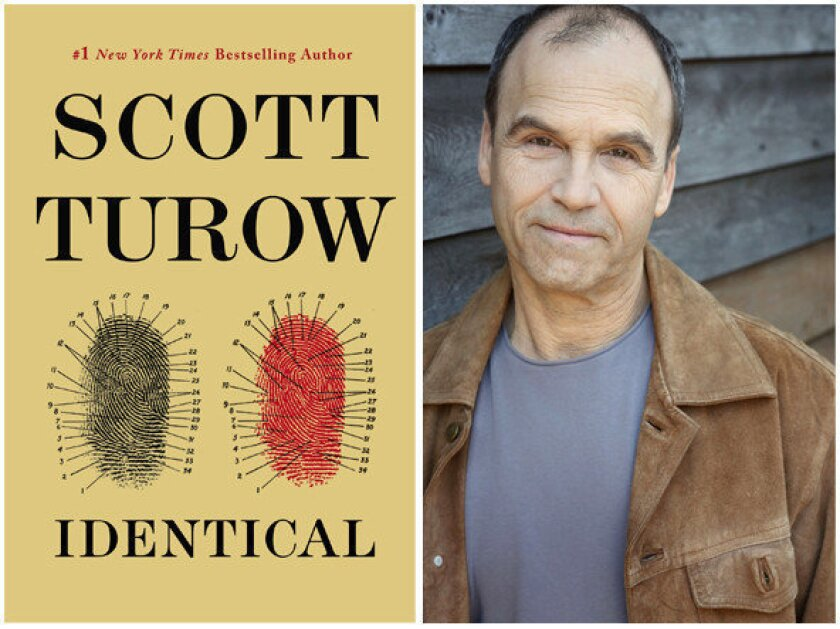 """The cover of """"Identical"""" and author Scott Turow."""