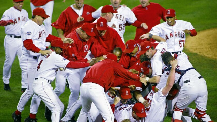 The Anaheim Angels celebrate their 4-1 victory over the San Francisco Giants in Game 7 of the World
