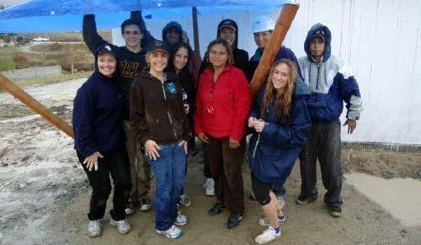 The crew escapes the rain. Photo: LJHS Interact