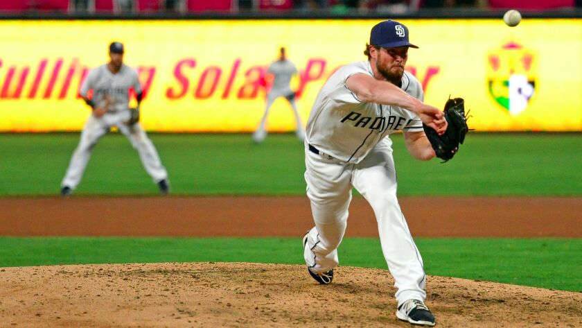 San Diego Padres reliever Carter Capps during the eighth inning against the Philadelphia Phillies at Petco Park.