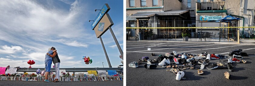 An El Paso memorial, left; shoes are piled near the Dayton, Ohio, shooting site