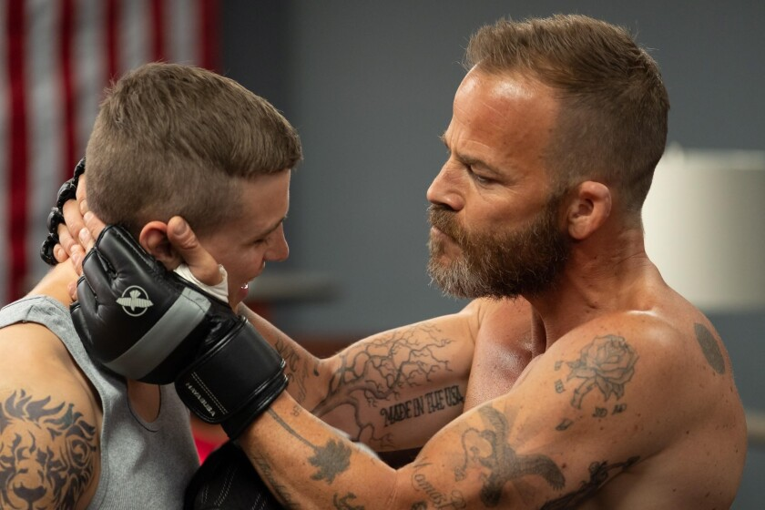 """Fighting with my family: Darren Mann, left, and Stephen Dorff play son and father in the affecting MMA drama """"Embattled."""""""