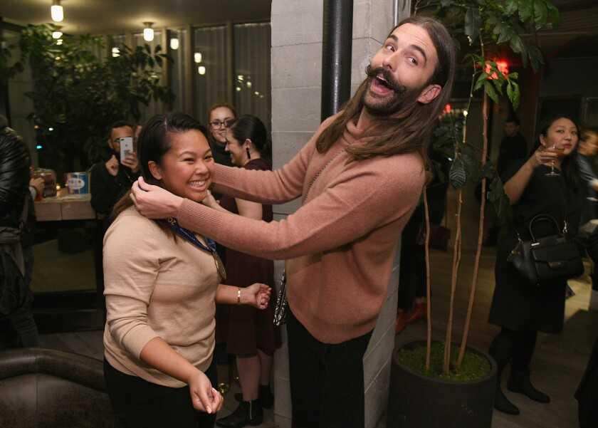 Jonathan Van Ness poses with guest at the premiere of all-new docuseries on Nov. 5 in Brooklyn, NY.