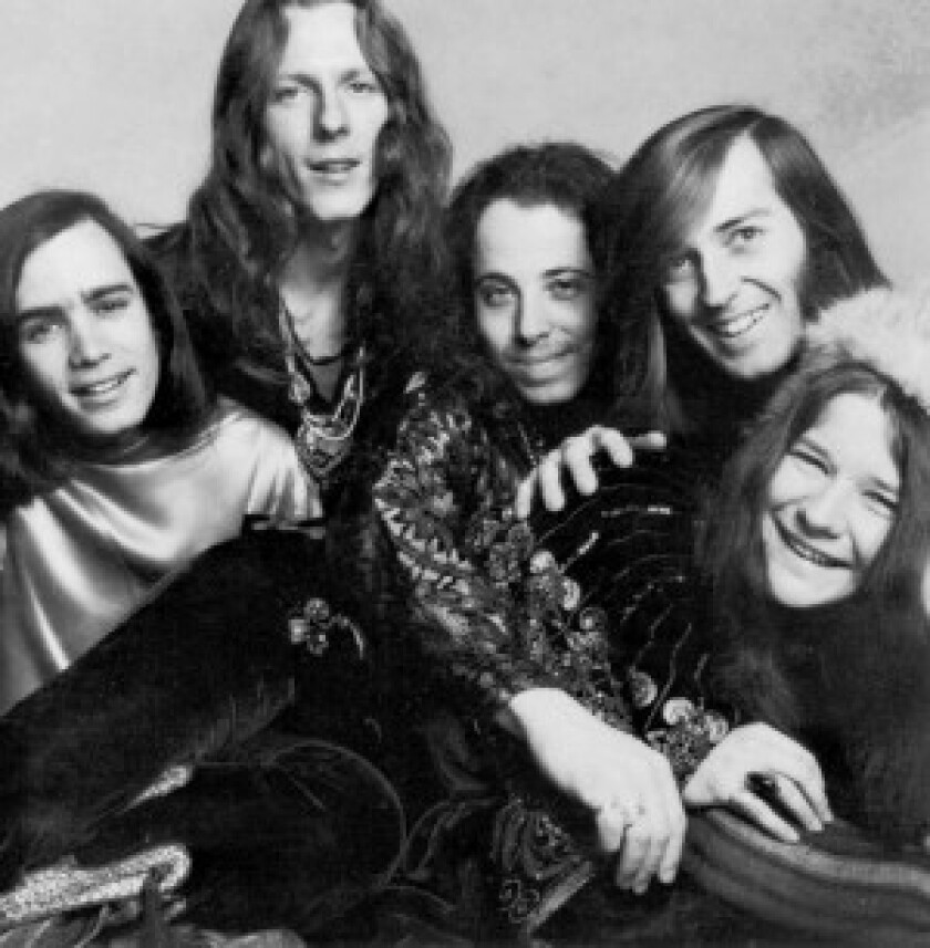 """James Gurley, second from left, was known for his spellbinding finger-picking on the electric guitar. Others in the band, which became a sensation with its 1968 """"Cheap Thrills"""" album, were, from left, Peter Albin, David Getz, Sam Andrew and Janis Joplin, who was launched to stardom."""