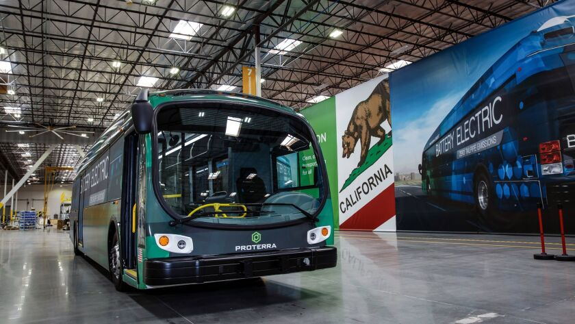 WALNUT, CALIF. -- TUESDAY, JUNE 13, 2017: The first Proterra electric bus built at the local manufac