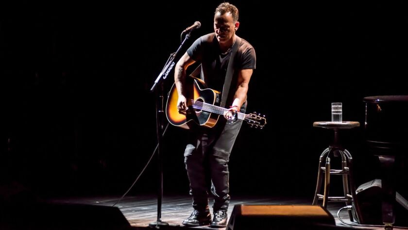 "It's Bru-u-u-u-ce in ""Springsteen on Broadway,"" continuing at the Walter Kerr Theatre through Dec. 15."