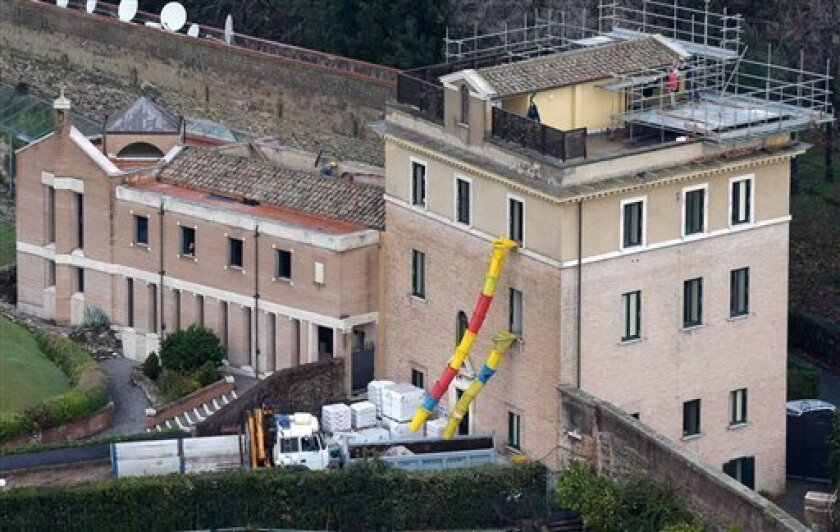 A view of the Mater Ecclesiae Monastery inside the Vatican State where Pope Benedict XVI is expected to live after he resigns, on Tuesday, Feb. 12, 2013. For months, construction crews have been renovating a four-story building attached to a monastery on the northern edge of the Vatican gardens whe