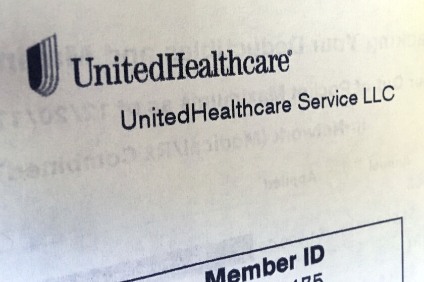 FILE - In this June 15, 2018 file photo, United Healthcare correspondence is seen in North Andover, Mass. UnitedHealth Group's on-and-off relationship with the Affordable Care Act's health insurance marketplaces is heating up again. The nation's largest health insurance provider is looking to jump back into a market it largely fled a few years ago after suffering huge losses. Company leaders said Wednesday, April 15, 2020, that they started thinking about a potential expansion before the coronavirus pandemic hit, and they are still reviewing markets. (AP Photo/Elise Amendola, File)