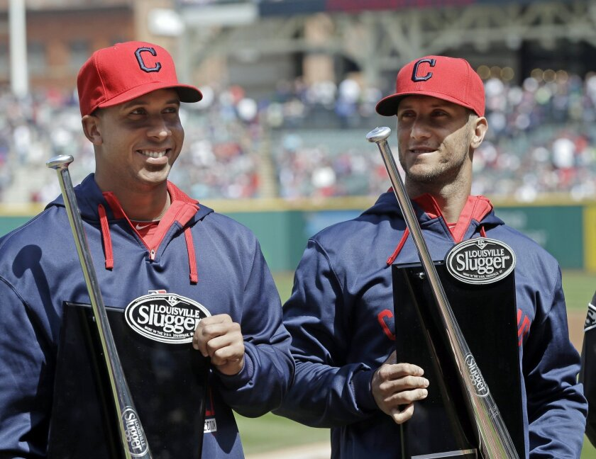 Cleveland Indians left fielder Michael Brantley, left, and catcher Yan Gomes display their Silver Slugger awards before a baseball game against the Detroit Tigers Sunday, April 12, 2015, in Cleveland. (AP Photo/Mark Duncan)