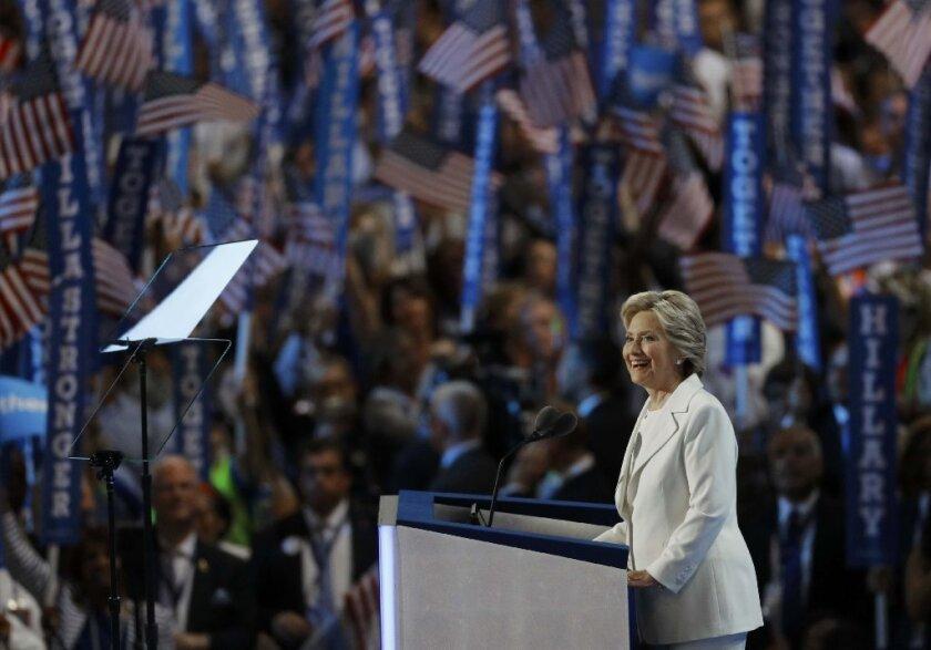 Hillary Clinton accepts Democratic presidential nomination in Philadelphia.