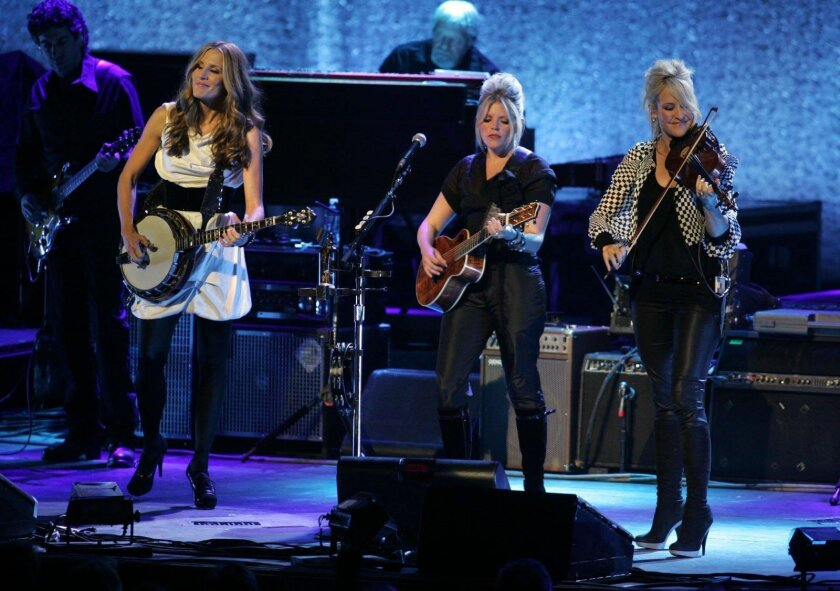 From left: Emily Robison, Natalie Maines and Martie Maguire of the Dixie Chicks. They will be in Chula Vista on July 15.