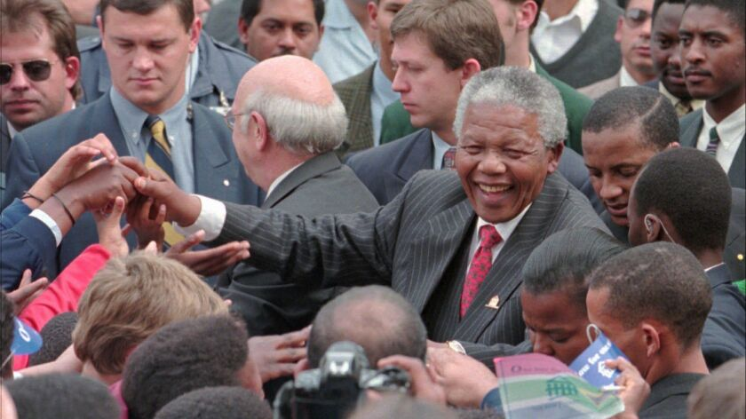 Nelson Mandela in 1996, when he was president of South Africa, after the adoption of a new constitution guaranteeing equal rights.