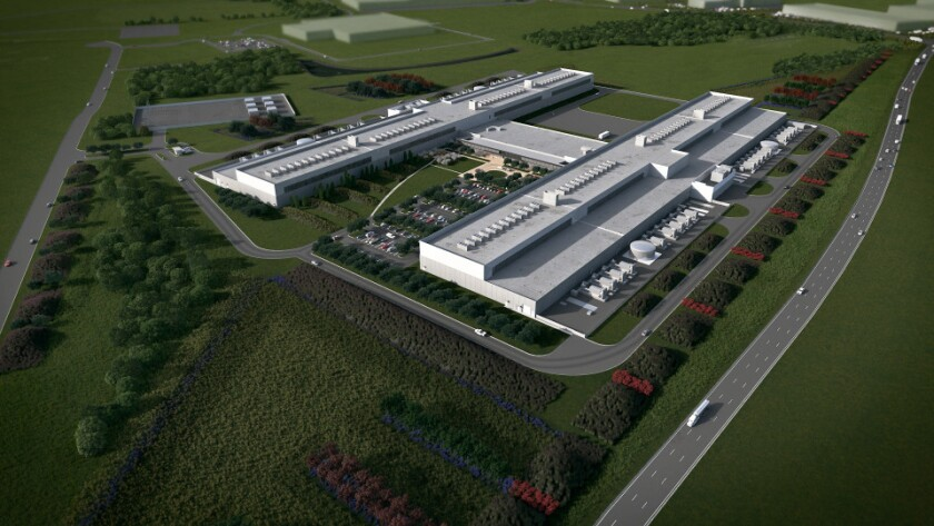 An artist's rendering of Facebook's new data center in Fort Worth.