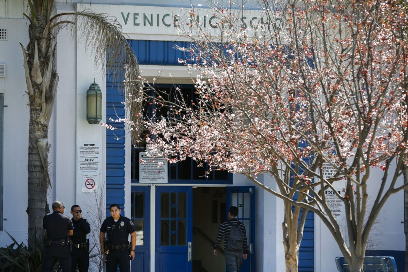 Venice High School, where 14 students were accused of sexual assault.
