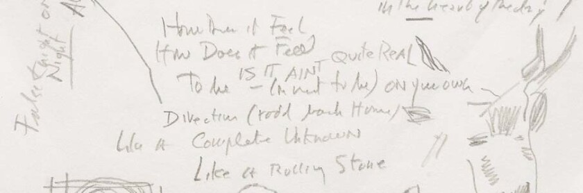 "The hand-written lyrics for Bob Dylan's 1965 rock classic ""Like a Rolling Stone"" will go up for auction in June at Sotheby's in New York."