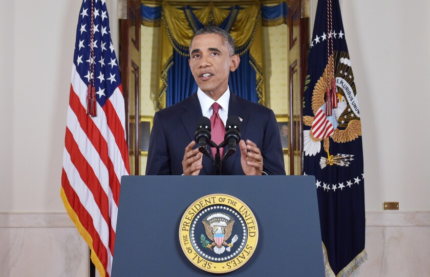 """President Obama, during a televised address at the White House on Wednesday, pledged a """"relentless"""" campaign to destroy Islamic State extremists in Iraq and Syria."""