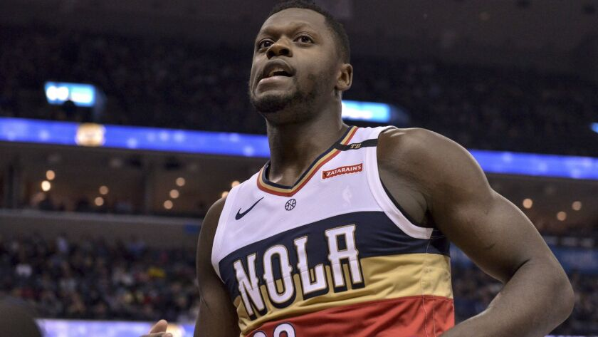 New Orleans Pelicans forward Julius Randle (30) plays in the first half of an NBA basketball game ag