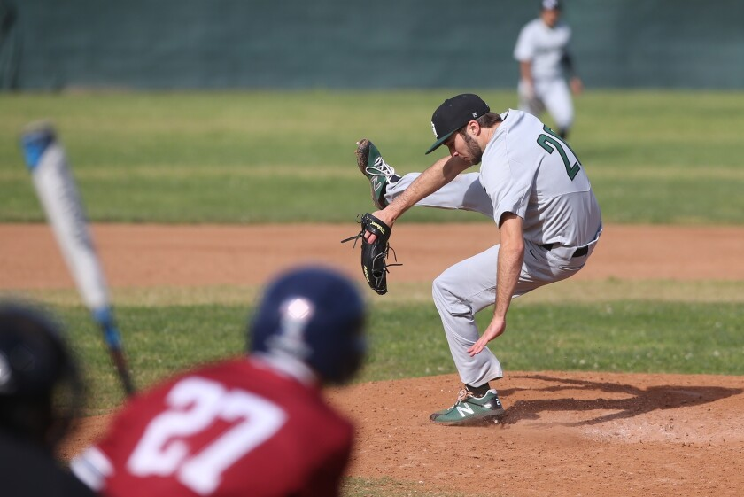 Sage Hill starting pitcher Drake Mossman jumps out of the way of a line drive at his feet during a S