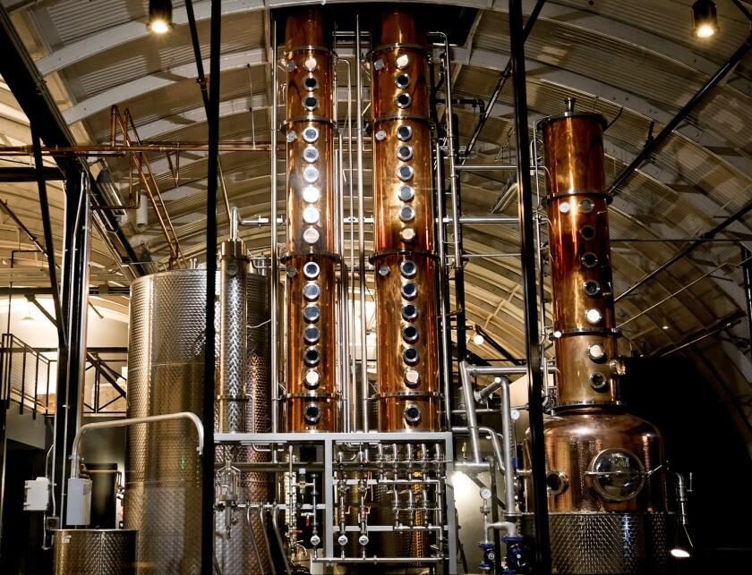 The interior of Blinking Owl Distillery.