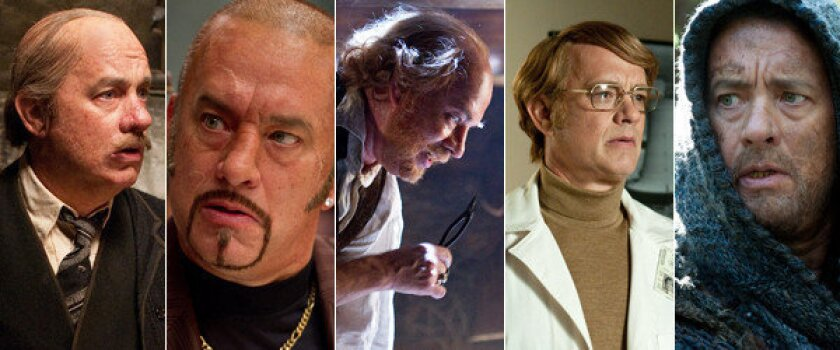 """Tom Hanks as Hotel Cavalier Manager, Dermot Hoggins, Dr. Goose, Isaac Sachs and Zachry in """"Cloud Atlas."""""""