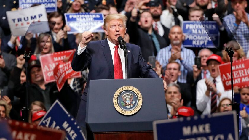 President Trump speaks at a rally in Nashville.