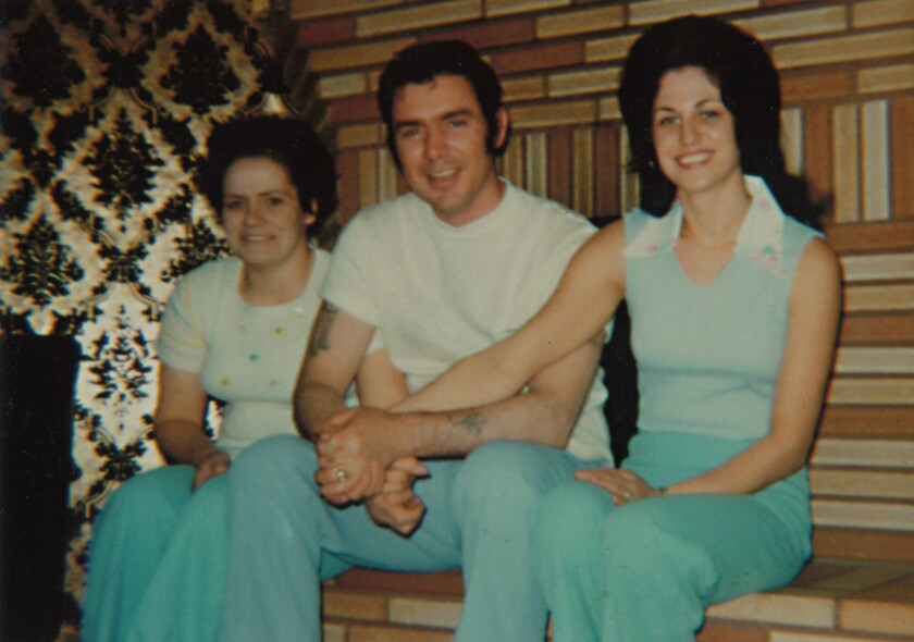 Rooster Bogle with his two wives, Kathy (left) and Linda (right), probably in the late 1960s when Ro