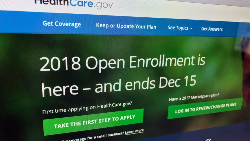 FILE - In this Dec. 15, 2017, file photo, the HealthCare.gov website is photographed in Washington.