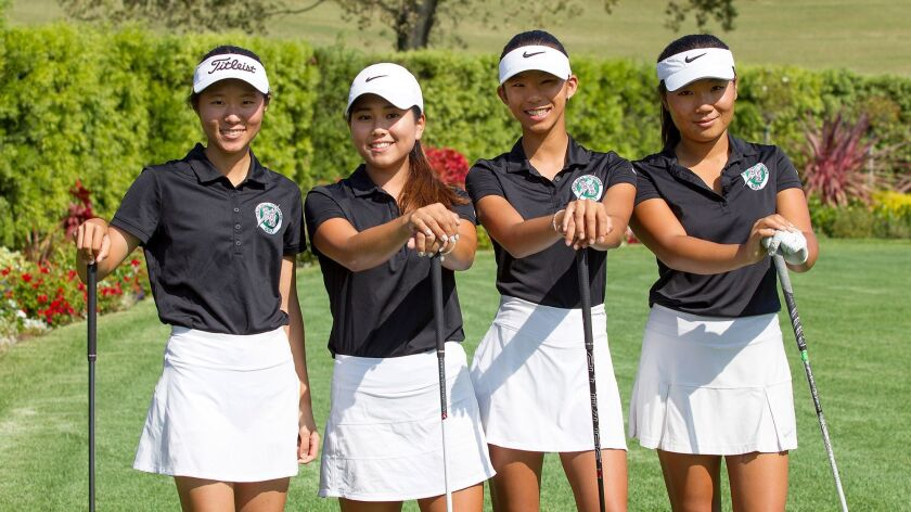 The top members of the Sage Hill girls golf team including Ashleigh Park, Mary Shin, Jennifer Cai, a