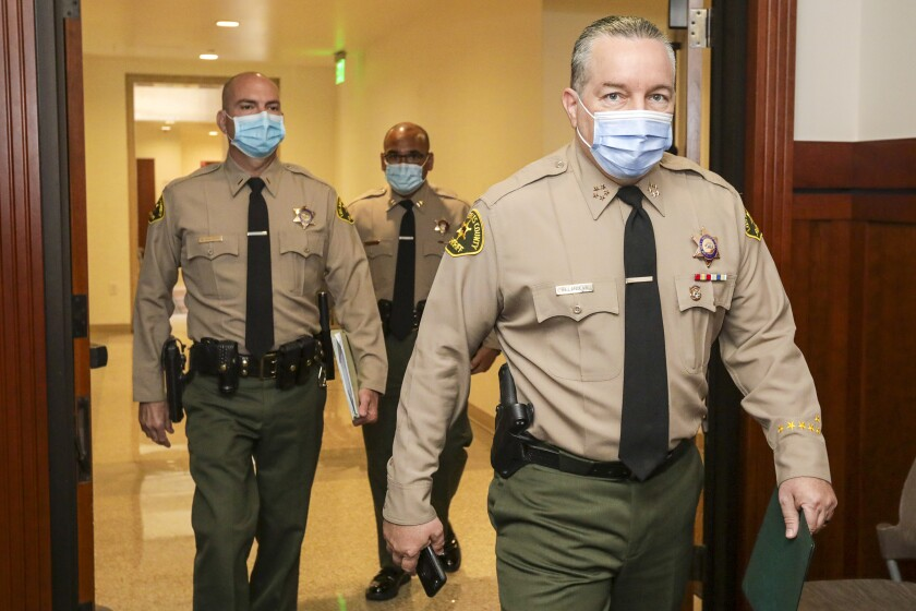 L.A. County Sheriff Alex Villanueva in the Hall of Justice