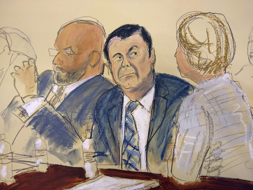"""In this courtroom sketch Joaquin """"El Chapo"""" Guzman, center, sits next to his defense attorney Eduardo Balarezo, left, for opening statements as Guzman's high-security trial gets underway in the Brooklyn borough of New York, Tuesday, Nov. 13, 2018."""