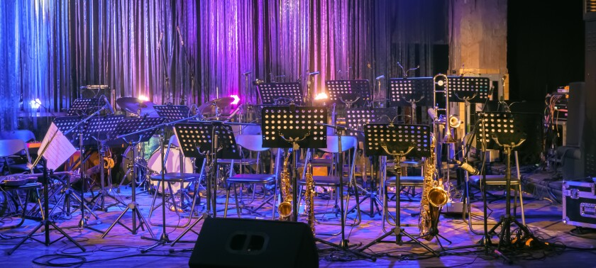 Background for Online Concert. Illuminated Empty Stage for Orchestra.