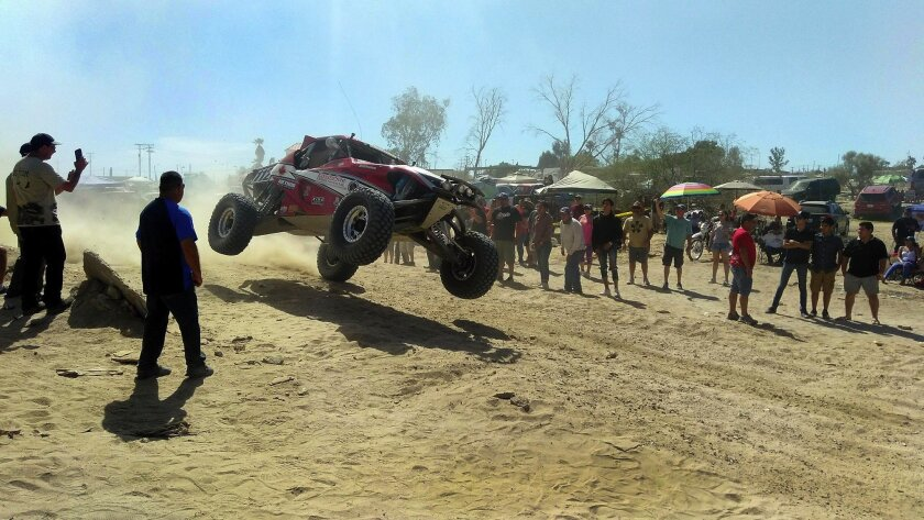 Spectators line both sides of the San Felipe Baja 250 course on April 7, 2018 PLEASE NOTE: THIS IS
