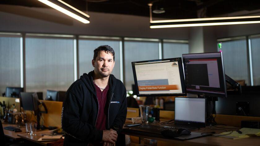 Malwarebytes quality assurance engineer Noah Christianson-Stafford in Santa Clara, Calif.