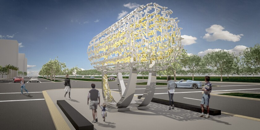 """A digital rendering shows Cecil Balmond's sculpture """"Freedom: A Shared Dream,"""" to be installed on Santa Monica Boulevard next year."""