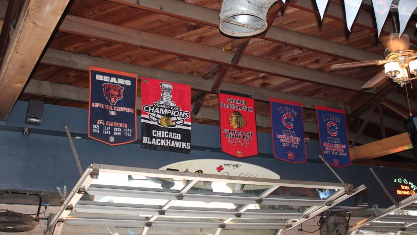 Championship banners of every Chicago professional sports team hang from the rafters at the 710 Beac